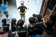 edukate students being taught awl climbing and safety Holistic education