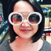 The Devil wears Prada, Yuet Ling trying on crazy sunnies just for fun.